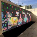 Mural rocódromo en colegio